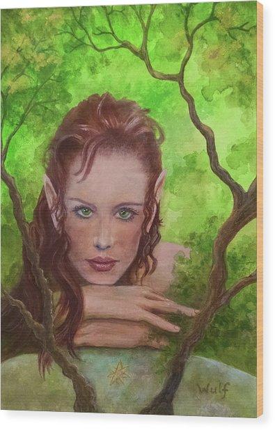 She Watches Through The Veil Wood Print