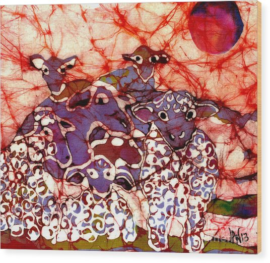 Sheep At Sunset Wood Print