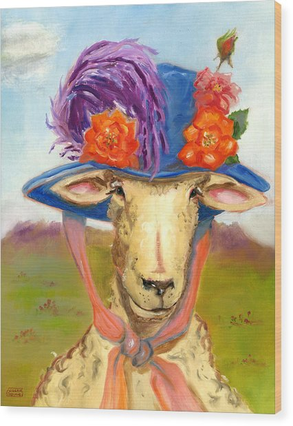 Sheep In Fancy Hat Wood Print