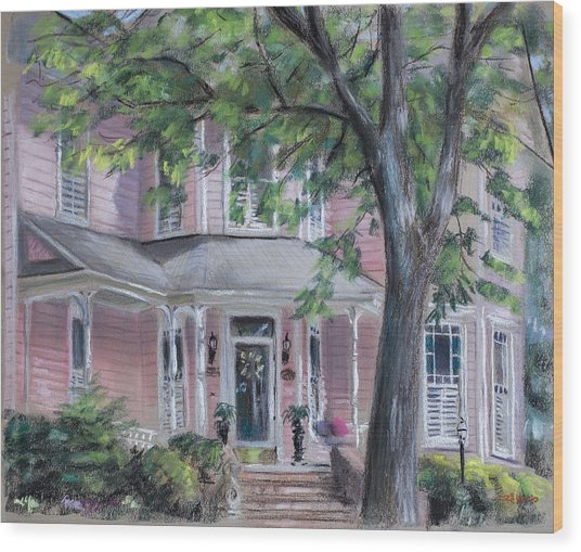 Sheila's Pink House Wood Print