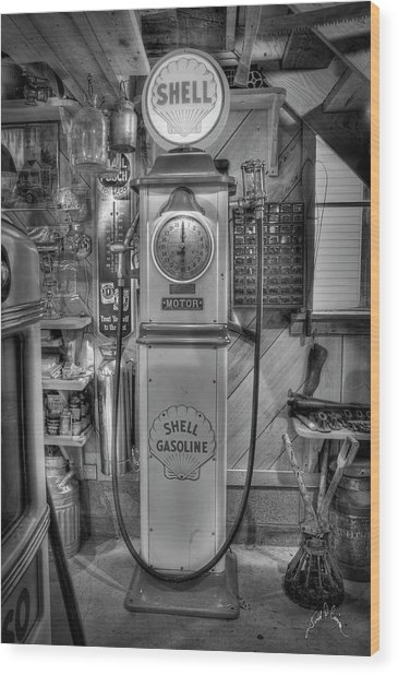 Shell Gas Pump Wood Print