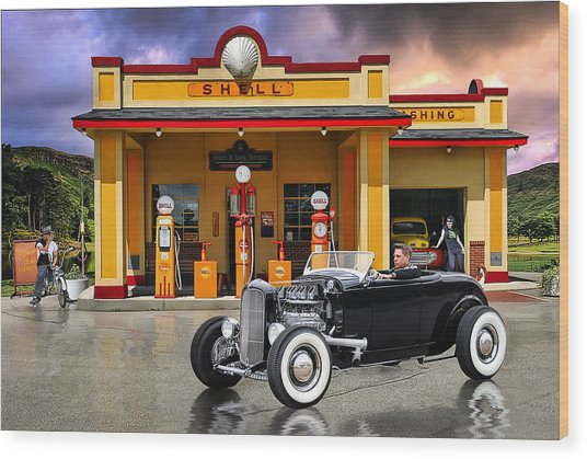 Shell Station .... Wood Print by Rat Rod Studios