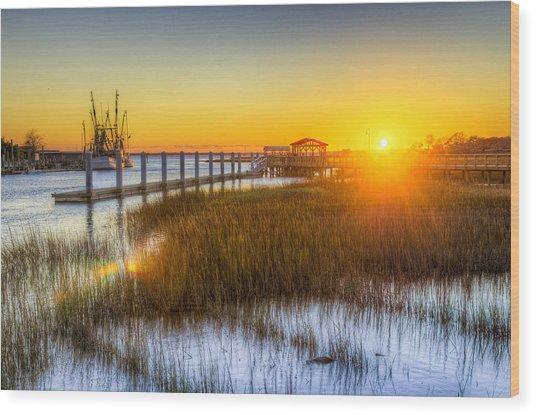 Shem Creek Sunset - Charleston Sc  Wood Print