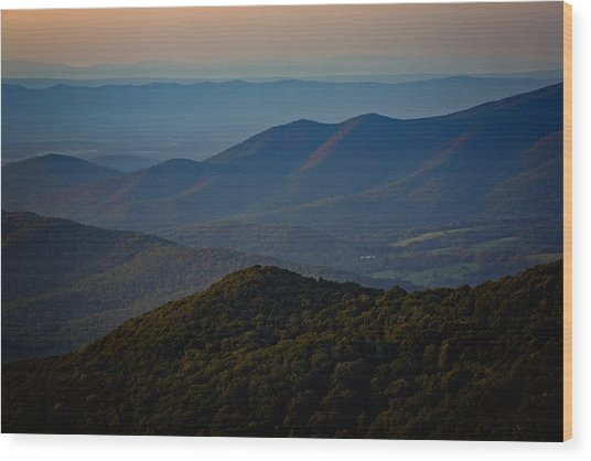 Shenandoah Valley At Sunset Wood Print