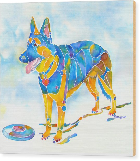 Shepherd With Frisbee - Play With Me Wood Print