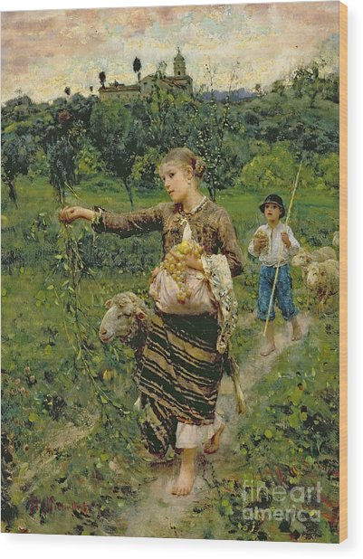 Shepherdess Carrying A Bunch Of Grapes Wood Print