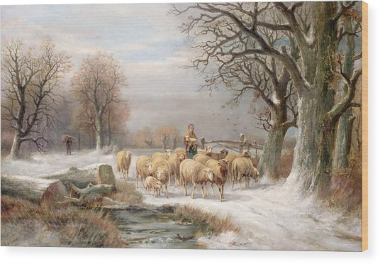 Shepherdess With Her Flock In A Winter Landscape Wood Print