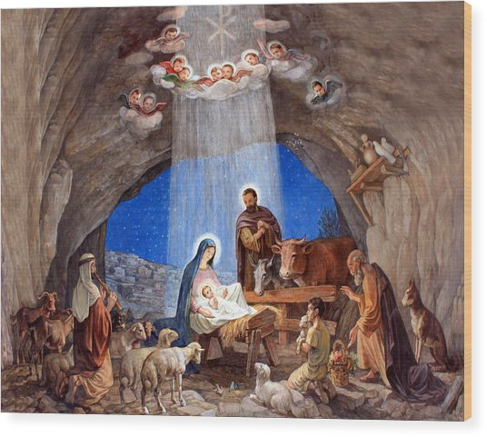 Shepherds Field Nativity Painting Wood Print
