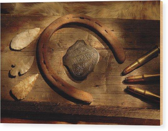 Sheriff Wood Print by Daniel Alcocer