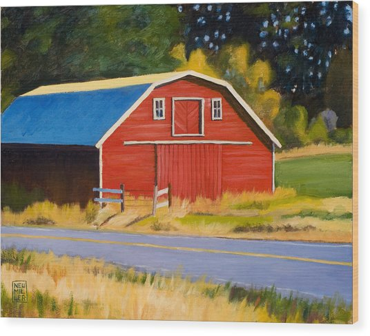 Sherman Barn Wood Print by Stacey Neumiller
