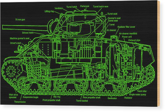 Sherman M4a4 Tank Wood Print