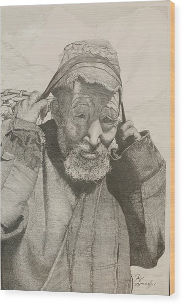 Sherpa. Wood Print by Jan  Spangler