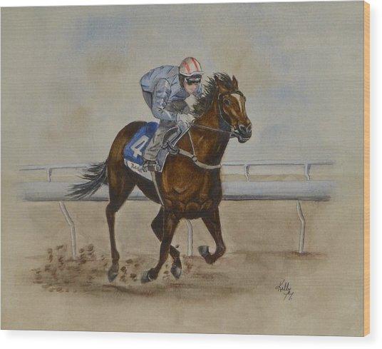 She's Taking The Lead ... Horserace Wood Print