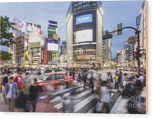 Shibuya Crossing At Night In Tokyo Wood Print