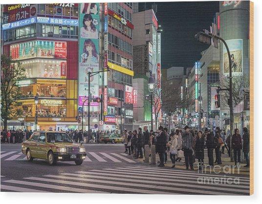 Shibuya Crossing, Tokyo Japan Wood Print