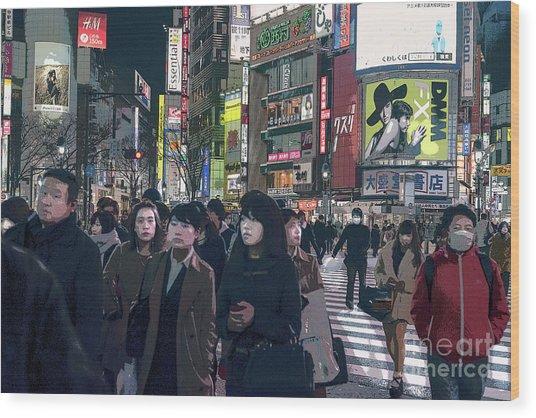 Shibuya Crossing, Tokyo Japan Poster 2 Wood Print