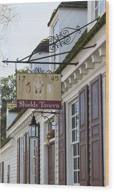 Shields Tavern Sign Wood Print