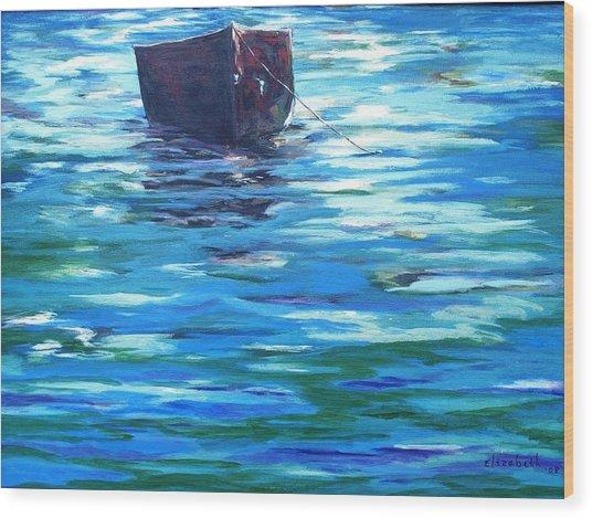 Shifting Boat Wood Print by Beth Maddox