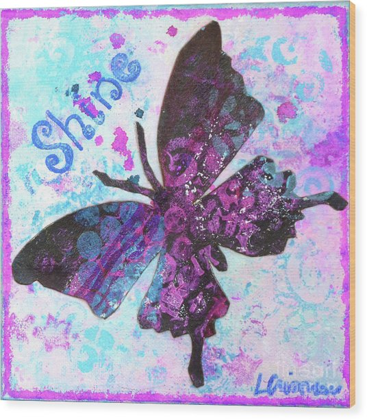 Shine Butterfly Wood Print
