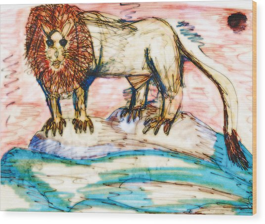 Shining Lion Wood Print by Andrew Blitman