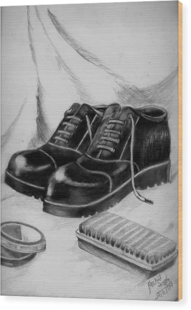 Shining Shoes Wood Print by Archit Singh