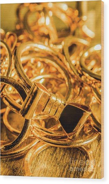 Shiny Gold Rings Wood Print