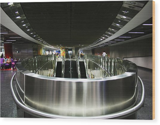 Shiny Singapore Stainless Steel Underground Station Wood Print by Jane McDougall