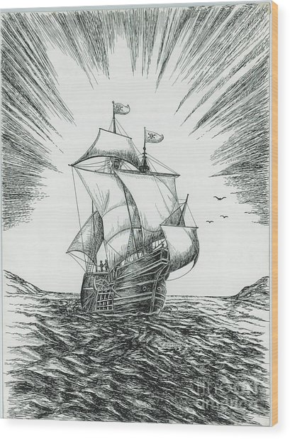 Ship At Daybreak Wood Print by Samuel Showman