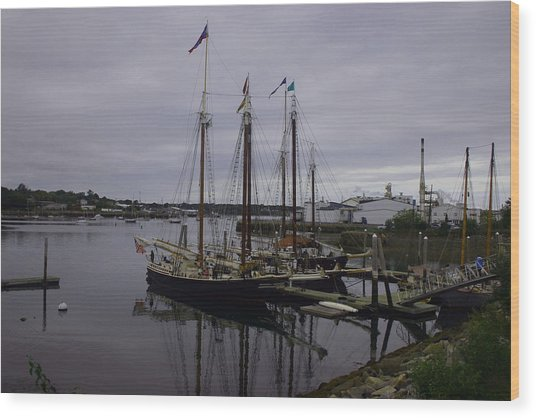 Ship At Dock. Wood Print by Dennis Curry
