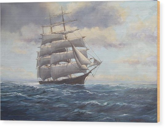 Ship Coming Out Of Morning Fog Wood Print