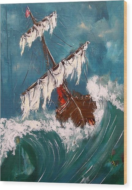 Ship In A Storm Wood Print