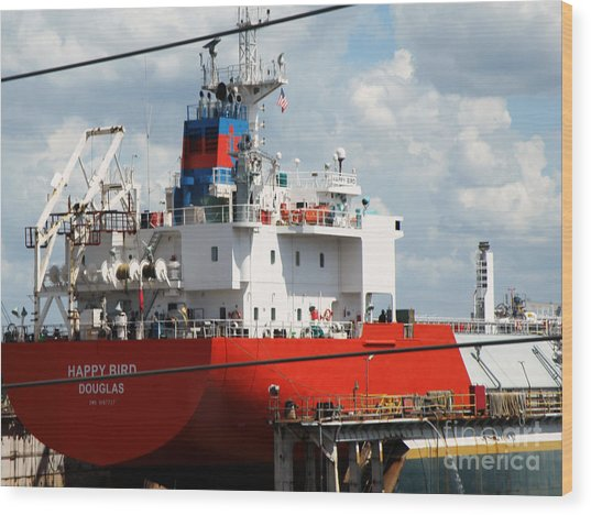 Ship In Tampa Harbor Wood Print by Rose  Hill