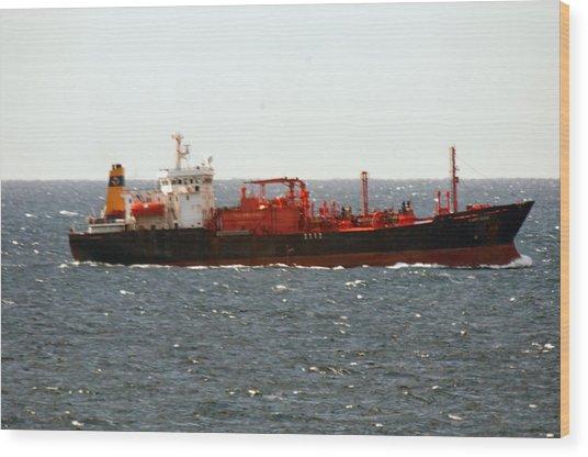 Ship Leaving Galveston Wood Print by Bill Perry