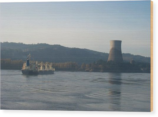 Ship Passing The Now Demolished Trojan Nuclear Plant Wood Print by Alan Espasandin