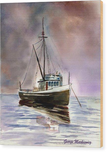 Ship Stormy Weather Wood Print by George Markiewicz