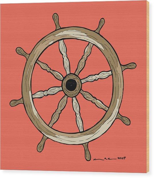 Ship Wheel Wood Print by Karl Addison