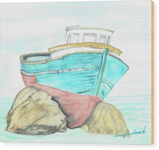 Ship Wreck Wood Print