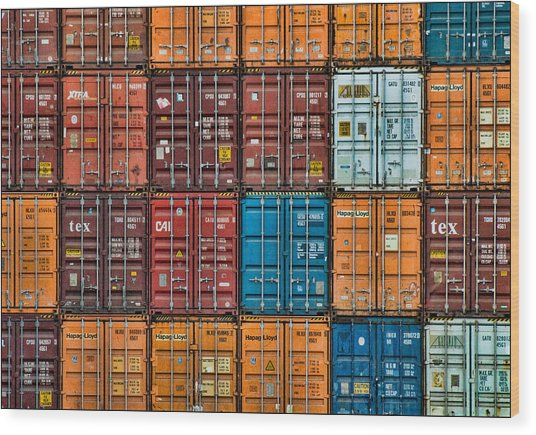 Shipping Containers Wood Print