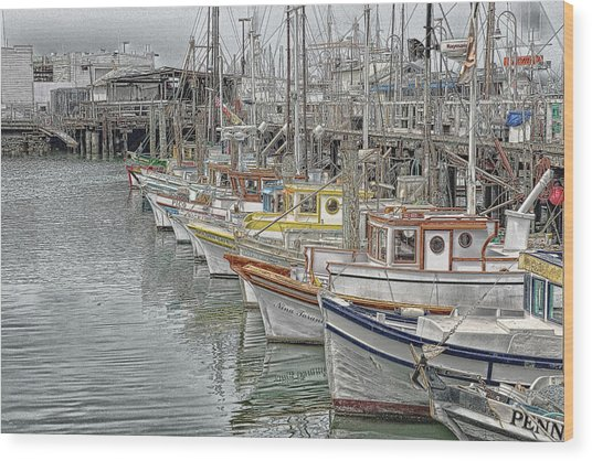 Ships In The Harbor Wood Print