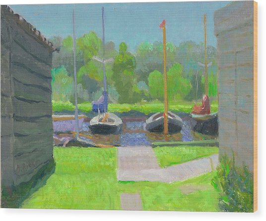 Shipyard After The Rain  Wood Print by Ben Rikken
