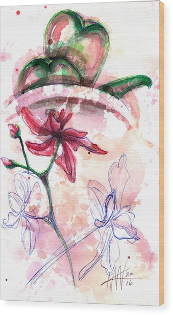 Shiraz Orchid II Wood Print
