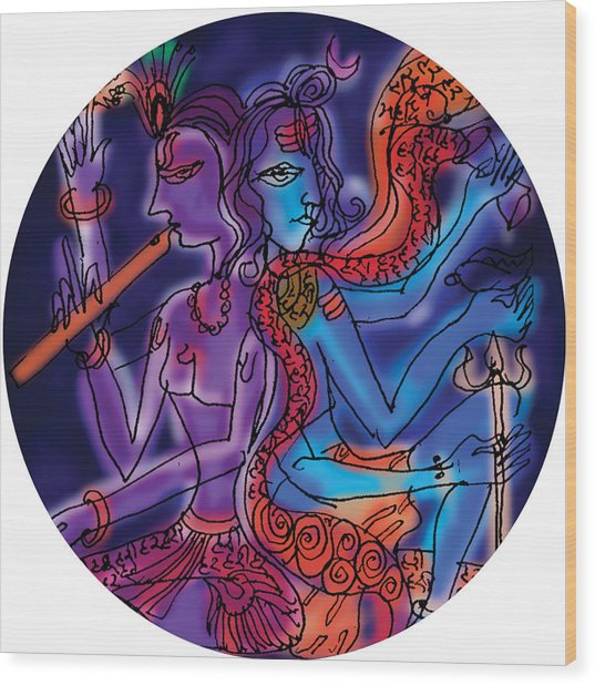 Shiva And Krishna Wood Print