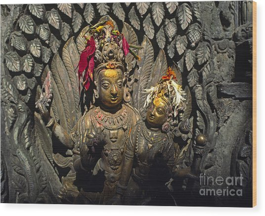 Shiva And Parvati - Pattan Royal Palace Nepal Wood Print