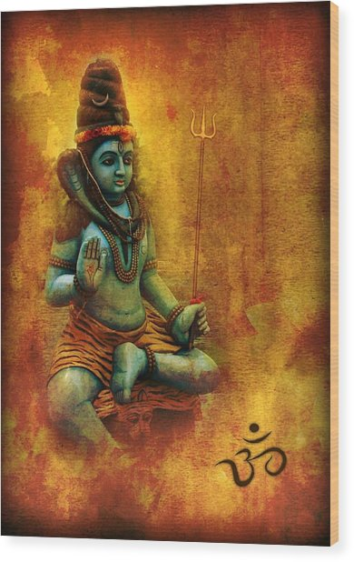 Shiva Hindu God Wood Print