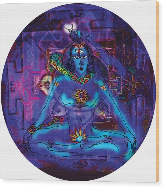 Shiva In Meditation Wood Print