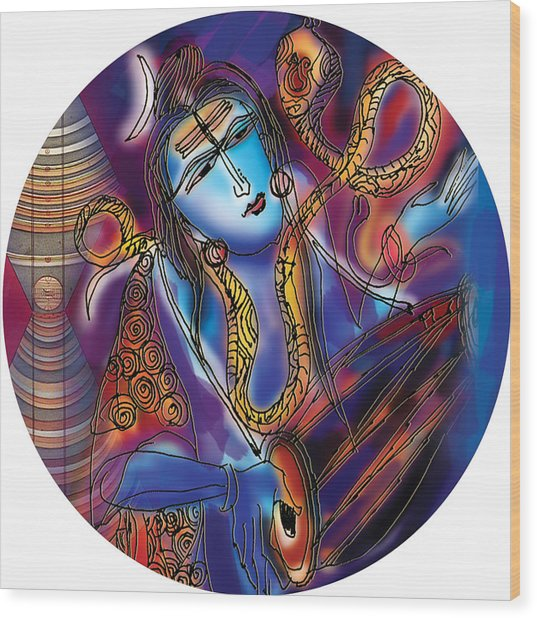 Shiva Playing The Drums Wood Print