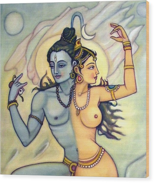 Shiva-shakti Or  Soul-nature Wood Print by Upendra Ratra