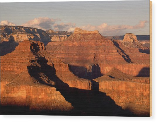 Shiva Temple  At Sunset Grand Canyon National Park Wood Print