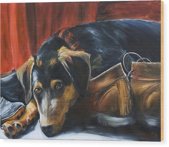 Shoe Dog Wood Print by Nik Helbig