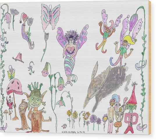Shoe Tree Rabbit And Fairies Wood Print